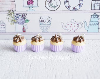 4 stitch markers knitting silver Chocolate Cupcake