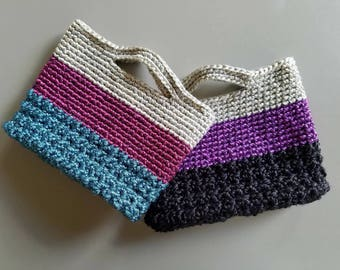 Set of 2 colorful crochet gift bags, crochet gift totes