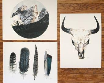 Set of Three Southwestern Watercolor Prints