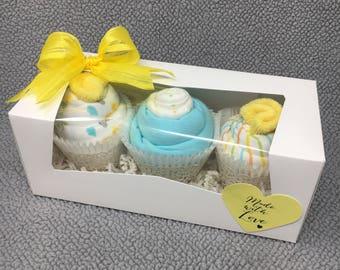 Baby Neutral Onesie Cupcakes, Baby Shower Gift, Unique Baby Gift, Gender Neutral Baby Gift, New Baby Gift