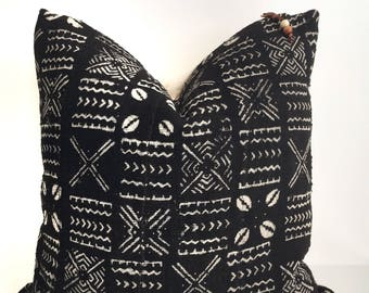 Authentic African mudcloth pillow cover 18x18