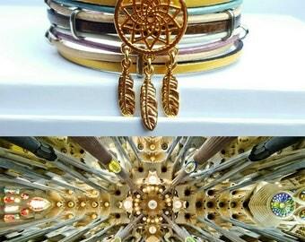 """""""Sagrada Familia"""" multicolor leather Cuff Bracelet"""