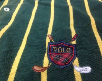 15% Off with Coupon Codes!!! Vintage 90's Polo Shield Cross Golf Stick Stripes Shirt