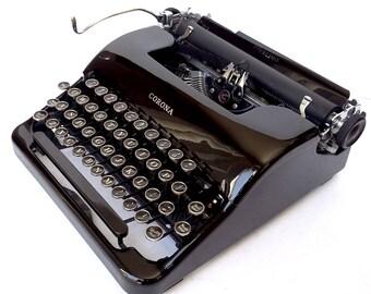 Corona Sterling Portable Manual Typewriter - Glossy Black!