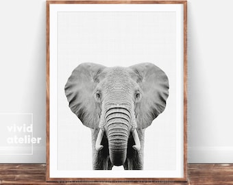 Black and White Elephant Print, Nusery Animal, Safari Nursery Print, Nursery Art Decor, Safari Animals, Nursery Printable, Baby Nursery, DIY