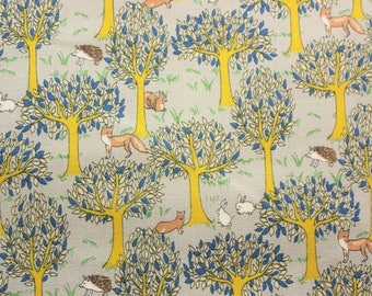Woodland Forest, Fox, Grey, Gray, Japanese, Canvas Fabric, Cotton Duck Fabric, Buzoku, Library Bag, Tote Bag, Cushion Cover, Half Metre