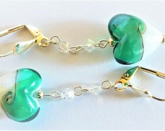 Green and White Swirl Earrings