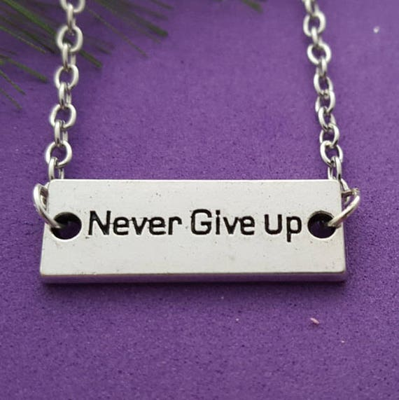 Never Give Up Bar Charm Anklet, CrossFit Necklace, Fitness Sports Jewelry, Inspirational Word Quotes Gifts, Motivational Coach Team Gifts