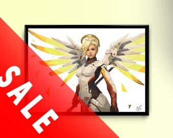 Overwatch - Mercy Low Poly A3 Print
