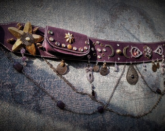 Purple tribal fusion belt with pouch