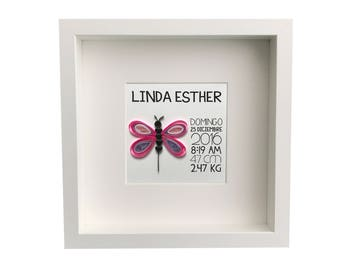 Personalized Baby Nursery Art & Decor, Birth Announcement Art, Personalized Framed Paper Quilled Butterfly with birth Information