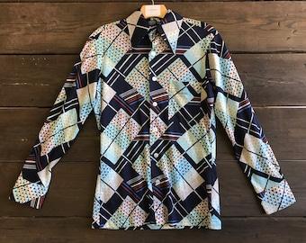 Vintage 70s Print Button-Up Shirt