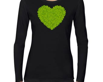 Irish Shamrock Heart Love Custom Long Sleeve Women's Black T SHIRT
