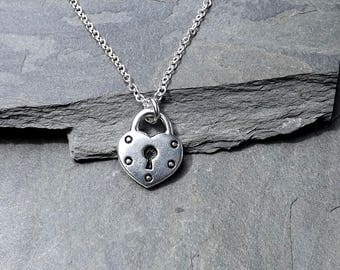 Heart Lock Necklace / Silver Heart Lock Necklace / Silver Plated Heart / Sterling silver chain