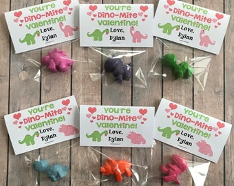 You're Dino-Mite Valentine Adorable Valentine Dinosaur Crayon Favors Personalized Valentine's Happy Valentine's Day Valentine Crayon