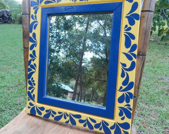 Blue and Yellwo hand painted wooden frame with mirror