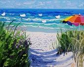 Beach themed wall art, ocean oil painting, decorative wall decor, by Ryan Kimba