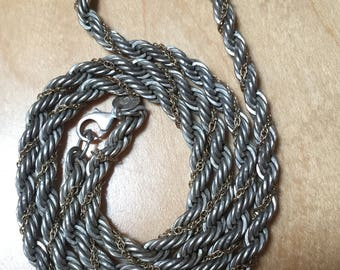 Tiffany Sterling Silver and 14K Gold Rope Chain Necklace