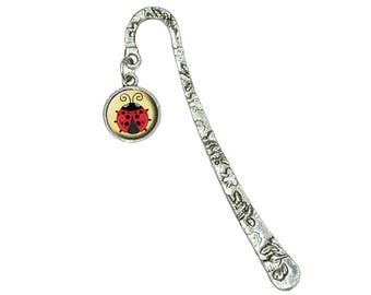 Cute Ladybug Book Bookmark With Antiqued Charm