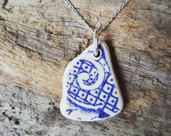 "A sea pottery necklace ~ with blue & white pattern ~ 18"" sterling silver curb chain and jump ring ~ handmade ~ bespoke ~ unique ~ special"