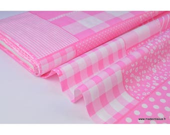 Popeline coton imprimé patchwork rose x50cm