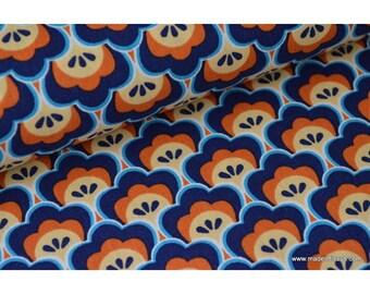 Tissu popeline coton imprimé lotus marine x50cm