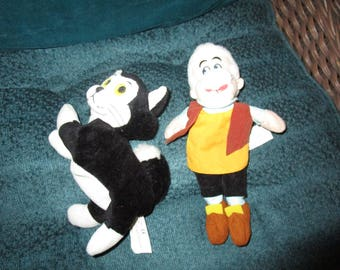 Disney Geppetto and His Cat Figaro Beanies/Plushies