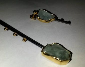 handcrafted contemporary silver earrings - aqua marine