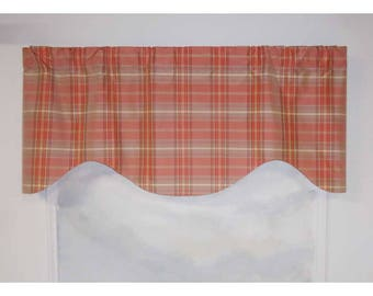 100% Silk Plaid Coral Pink Valance