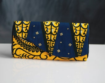 Ankara, accessory evening bag, purse, African print clutch, black panther