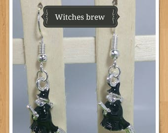 WITCH ON BROOMSTICK earrings