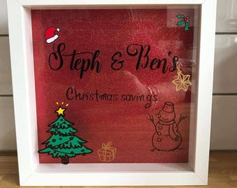 christmas savings frame. money frame personalised with the names you want