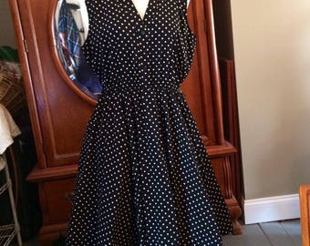 Fifties Style Alfani Black and White Polka Dot Dress in size 16