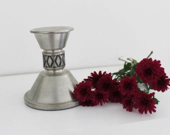 Vintage Haugrud Pewter Candleholder Norway Norwegian Pewter Norsk tinn Retro Scandinavian Design Folk Traditional