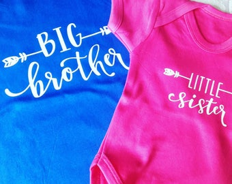 Little Brother, Little Sister, Big Brother, Big Sister, baby vests, personalised, sibling sets,  pregnancy announcement