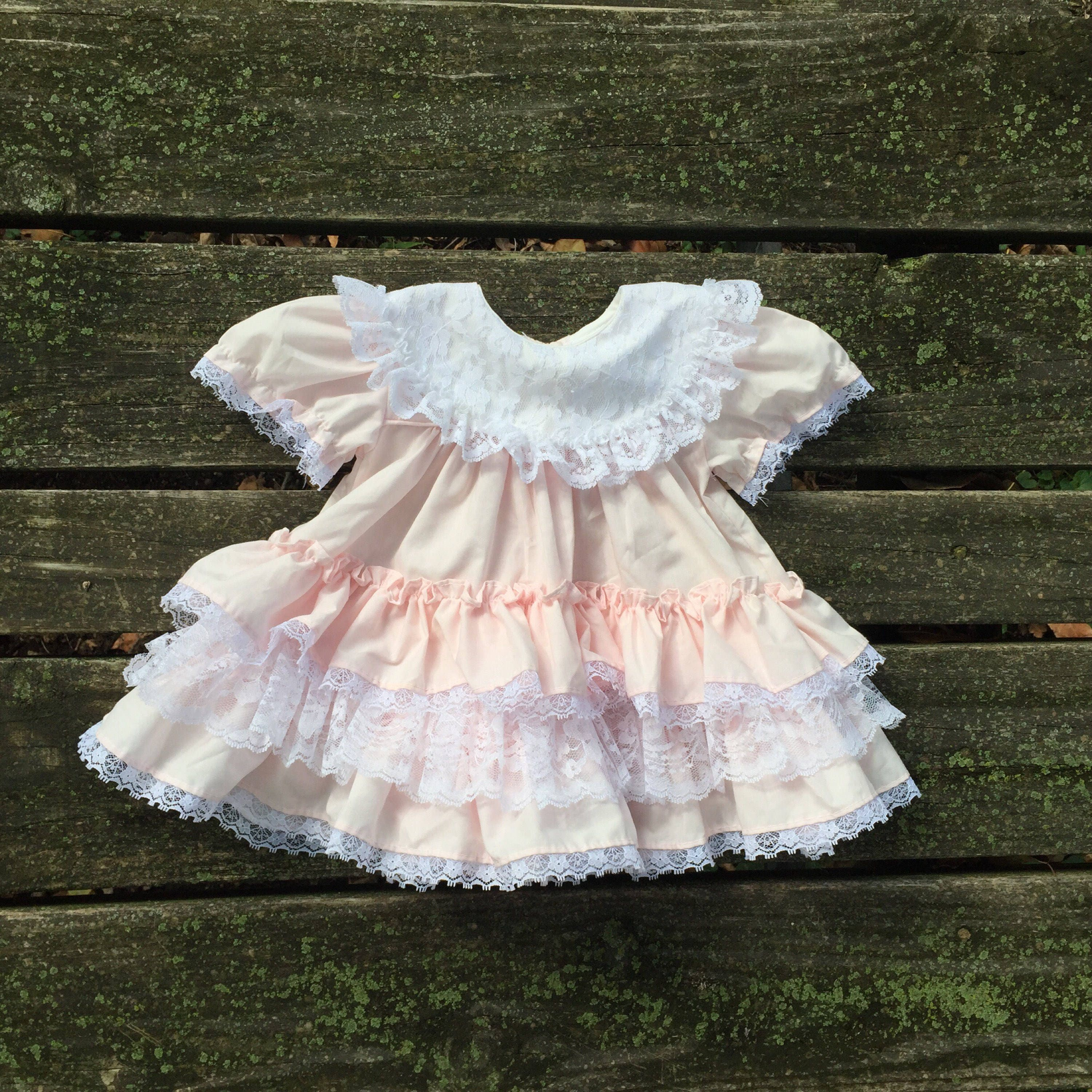 Vintage 6 Months Dress Collared Pink White Lace Ruffle Fancy