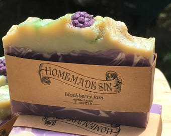 Blackberry Jam Scented Handmade Cold Process Soap