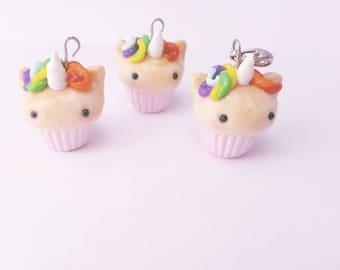 Kawaii Unicorn Cupcake Charm, clay charm, miniature food, dollhouse, jewelry