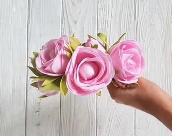 Blush hairpiece, blush pink flowergirl headpiece, girl headwreath, party festival hippie flower haircrown, flower headress flower head crown