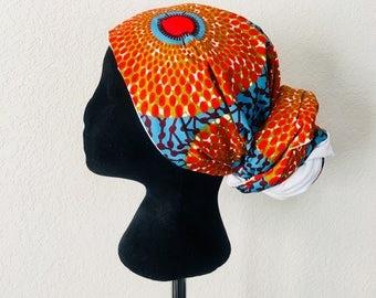 Head Wrap - African - Reversable - Kop Wrap - Koraal See (Coral Sea)