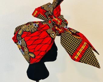 Head Wrap - African - Reversable - Kop Wrap - Rooi Skilpad (red turtle)