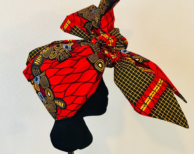 Featured listing image: Head Wrap - African - Reversable - Kop Wrap - Rooi Skilpad (red turtle)