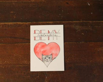 Be My Valentine (Penny the Cat) Watercolor Card