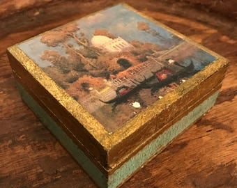 Vintage Italian Florentia Wooden Box with Hinged Lid Featuring Domed Church & Gondola Scene | Hand Made in Italy
