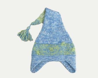 Pixie Hat pointed child 3 to 5 years, stars and Pompom wool fait-main@creazabelle