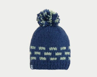 Blue and green bricks child hat with pompon wool handmade