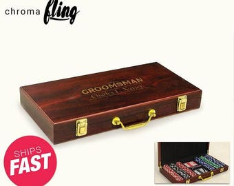 Personalized Classic Groomsman Laser Engraved Poker Chip Set - Custom Poker Game - Custom Games - Personalized Poker Case - Poker Set