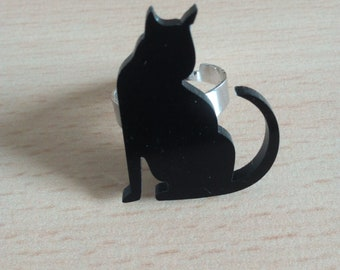 1386 ring and black acrylic cat brooch