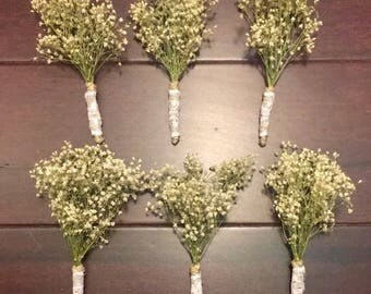 6 Hand-Made Wedding Boutonniere's Dried Baby's Breath Twine With White Lace And Pearl-Topped PinsRustic Vintage