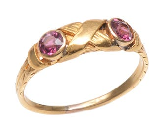 Antique 18 KT. Yellow Gold and Amethyst Ring